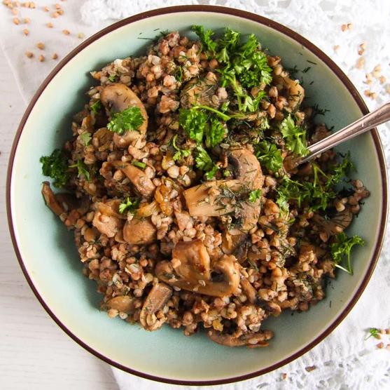 Roasted Buckwheat (Kasha) with Onions and Mushrooms