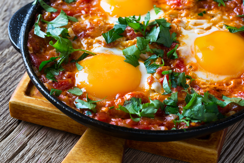 Easy Vegetable Casserole with Baked Eggs and Coriander